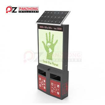 Solar Light Box Advertising Trash Bin  with plastic garbage can