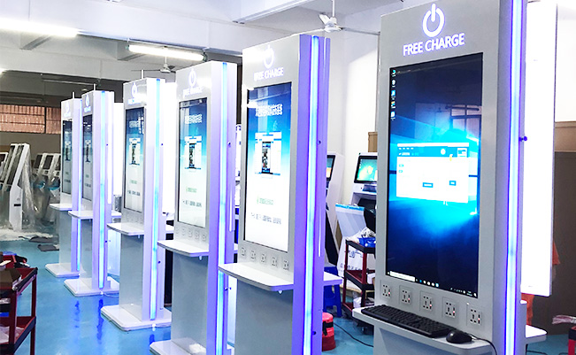Ghana's airport,43inch Advertising mobile charging station ,125 units